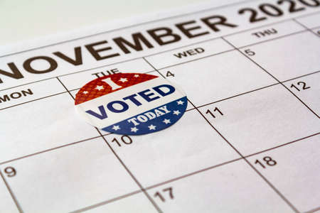 Calendar with November 3rd market with I voted today sticker. US election day concept