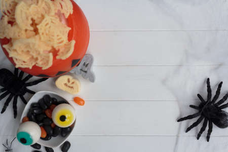 Top view of halloween food on festive table. Top view with copy space Zdjęcie Seryjne