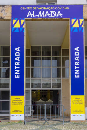Almada, Portugal CIRCA February 2021: COVID-19 vaccination center in Almada, Portugal