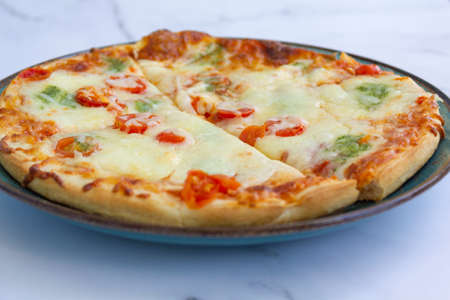 Close-up of delicious Margherita pizza