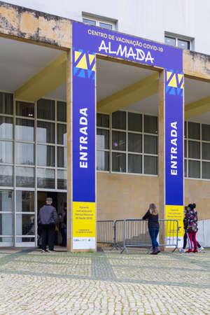 Almada, Portugal CIRCA February 2021: vaccination center in Almada, Portugal