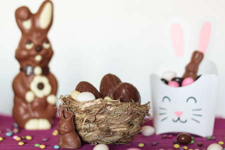 Bird nest with chocolate easter eggs, chocolate bunnies and treat box with sweets Reklamní fotografie
