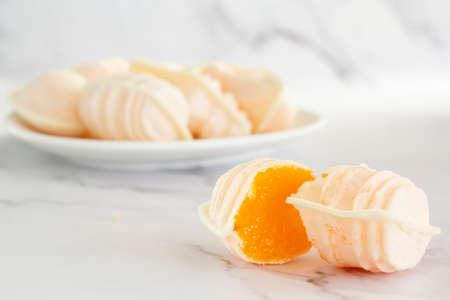 Traditional portuguese egg yolk sweets called Ovos Moles de Aveiro Reklamní fotografie