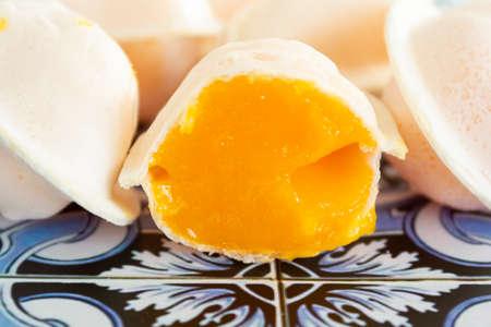 Close-up of traditional portuguese sweet called Ovos Moles de Aveiro