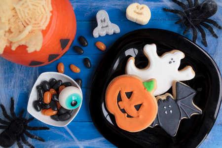 Various treats on Halloween party table