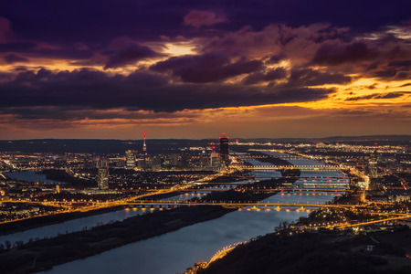 View of Vienna looking southeast from Leopoldsberg at sunrise Stok Fotoğraf - 87249152