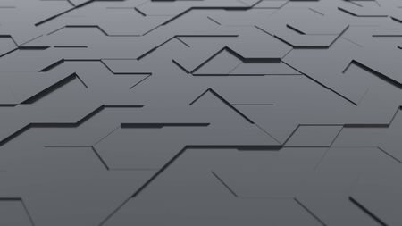 Dark abstract background with technology hexagon and triangle shaped tiles, technology concept, 3D rendering, 3d illustration Archivio Fotografico - 138943485