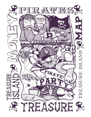 cat and mouse: pirate party, pirate, sailor, ship, cat, mouse, Seagull, treasure map, island, freehand drawing, solid