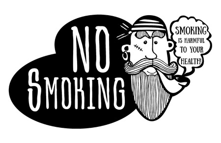prohibiting: sign prohibiting Smoking, a pirate Smoking a pipe, Smoking is harmful to your health