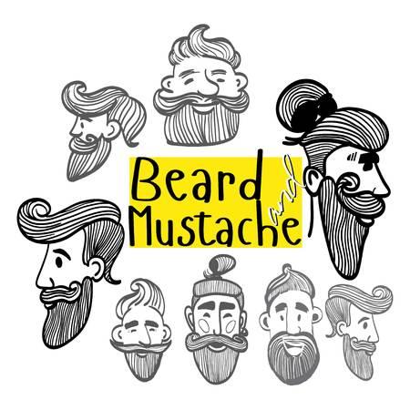 freehand drawing men , drawing a mustache , drawing pricheki , monochrome , funny men , stylized, mustache, beard
