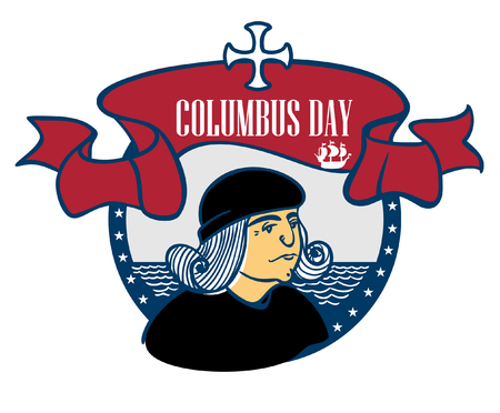portrait of Christopher Columbus, a stylized drawing of a hand, the celebration of Columbus Day