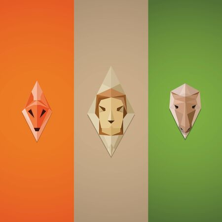 Crystal, abstract fox, lion and horse icons. Great image for knightly coats of arms, emblems for the gaming communities Illustration