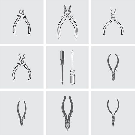 cutter: Pliers, wire cutter and screwdriver vector icons Illustration