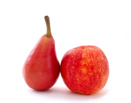 Red pear and apple isolated on white background photo