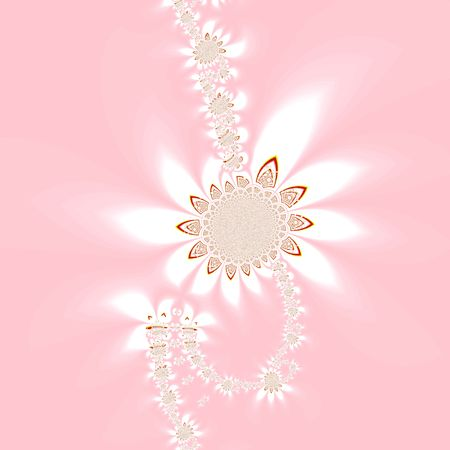 Silhouette of abstract flowers on pink photo