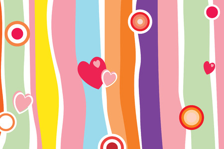Fun color background with hearts and circles  Illustration