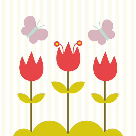귀여운 꽃과 나비 카드 디자인 일러스트