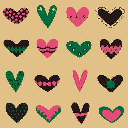 collection heart vector Vector