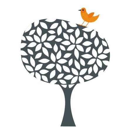 bird and tree design Vector