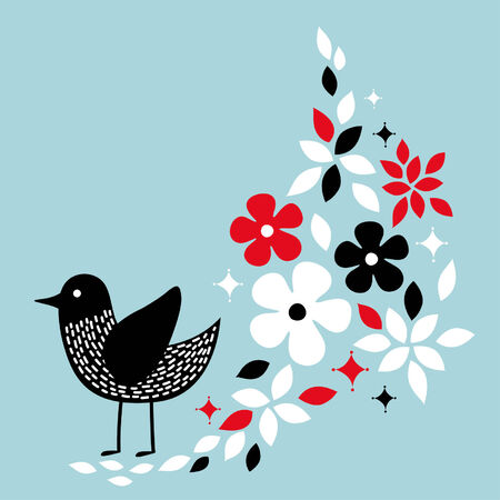 cute bird card design Stock Vector - 5119240