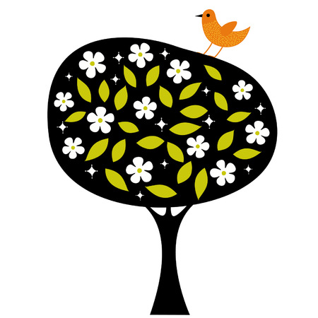 bird and tree wallpaper design Vector