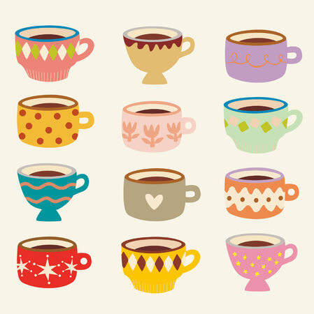 coffee cup vector: vector cup set