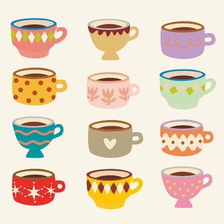 flora vector: vector cup set