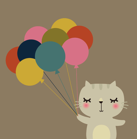 Cute vector cat with balloon Stock Vector - 5440797