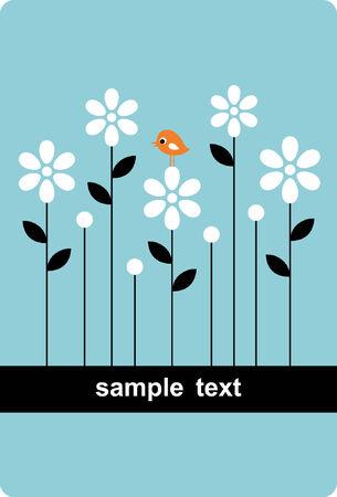 벡터 조류와 꽃 배경 디자인