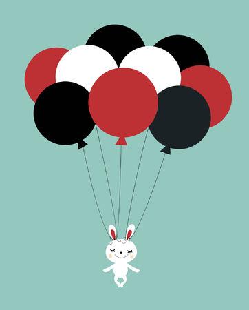 balloon with rabbit card design Vector