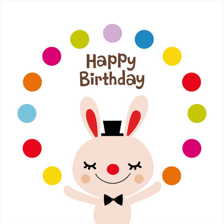 rabbit birthday card design Vector