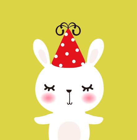 Cute lapin vecteur avec le chapeau Illustration
