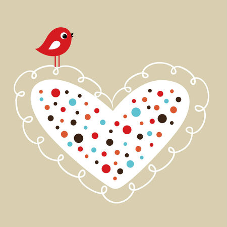 sweet love: bird with heart
