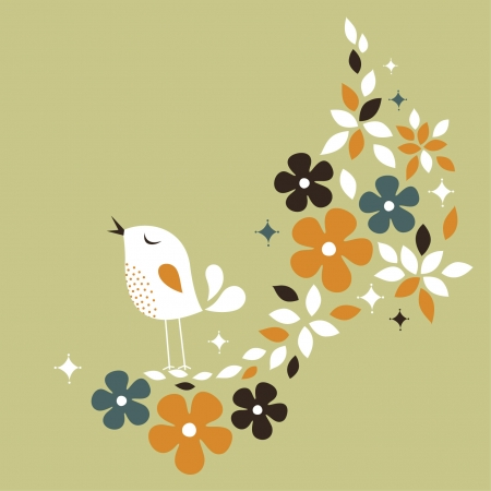 sweet bird card design Stock Vector - 6170199