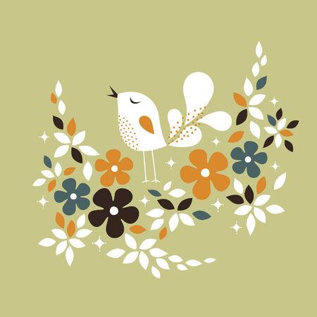 sweet bird card design Vector