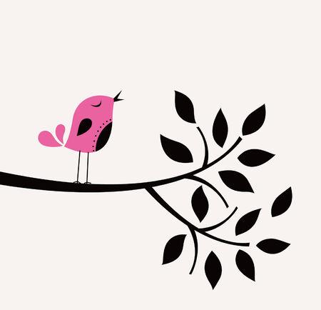 duif tekening: vector vogel en boom ontwerp Stock Illustratie