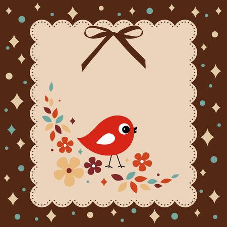 corona navidad: tarjeta de vector aves xmas