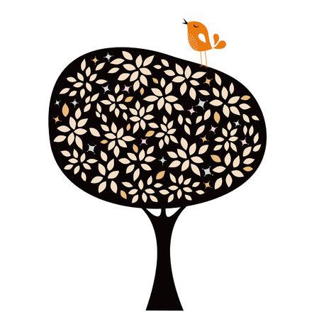 bird and tree card design Vector