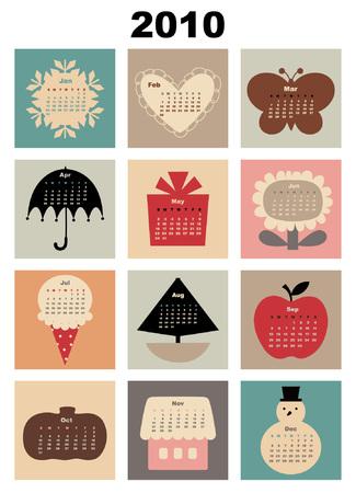 dates fruit: Ilustraci�n de estilo colorido dise�o calendario para 2010 Vectores