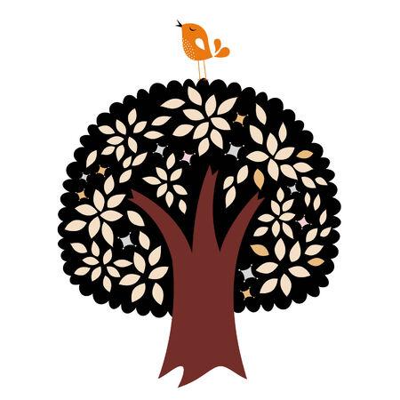 vector bird and tree Vector