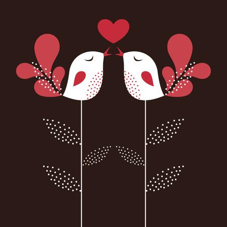bird love card Stock Vector - 6186511