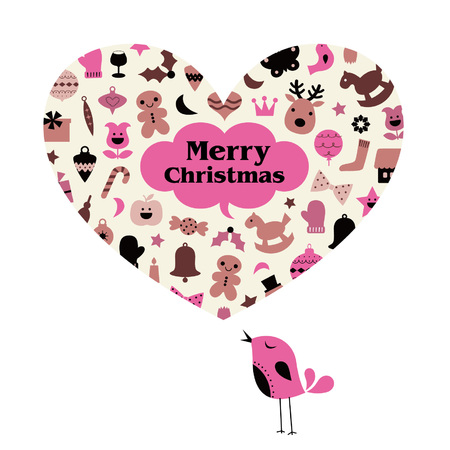 vector Christmas bird card Illustration
