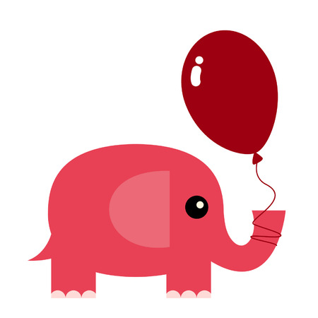 elephant holding a red balloon Vector