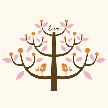 bird and tree love card Vector