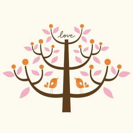 ¡rboles con pajaros: tarjeta de amor de aves y el árbol Vectores