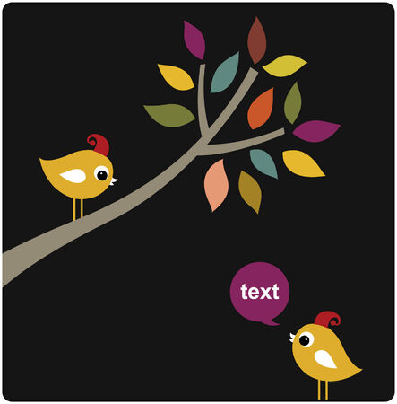 vector xmas birds card design Illustration