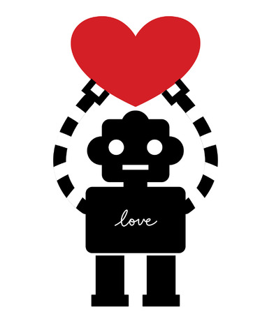 robot with heart card design Vector