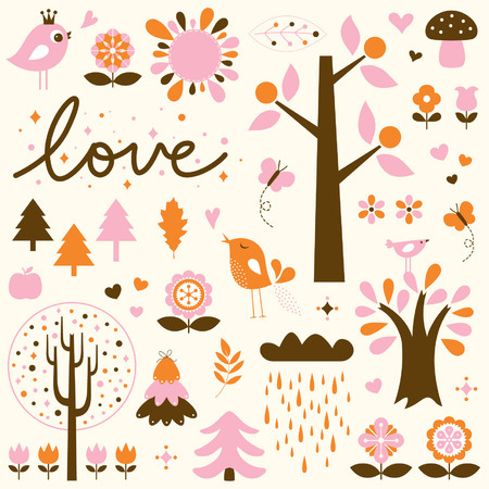 vector birds and trees set Vector