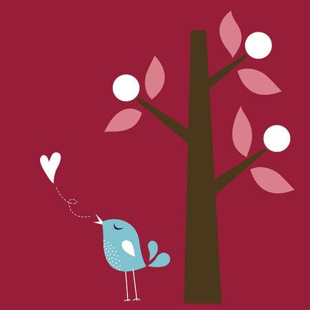 bird love card Stock Vector - 6297931