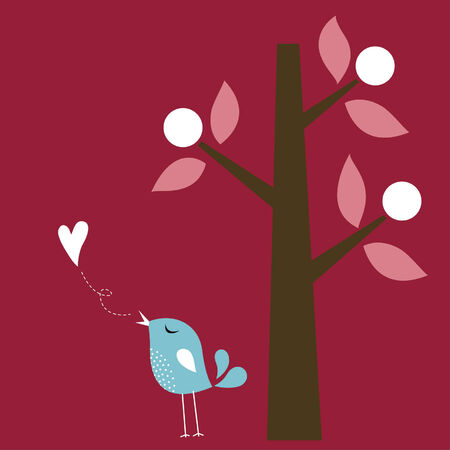 bird love card Stock Vector - 6297931